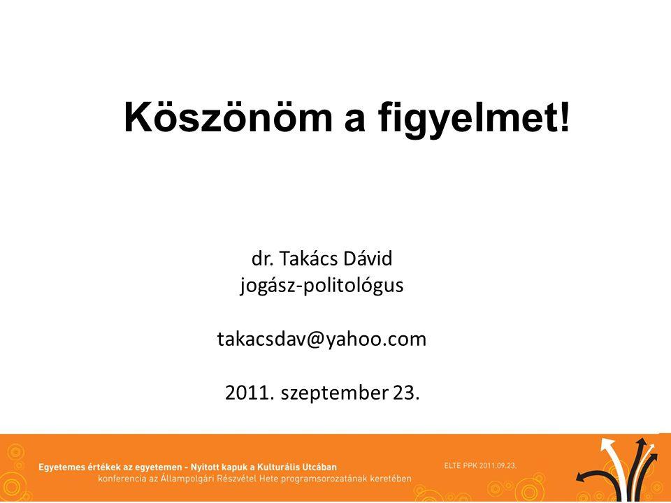 Köszönöm a figyelmet! dr. Takács Dávid jogász-politológus