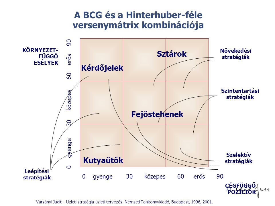 A BCG és a Hinterhuber-féle versenymátrix kombinációja