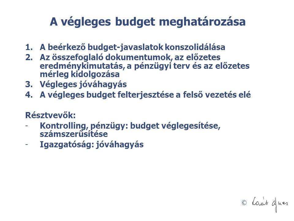 A végleges budget meghatározása