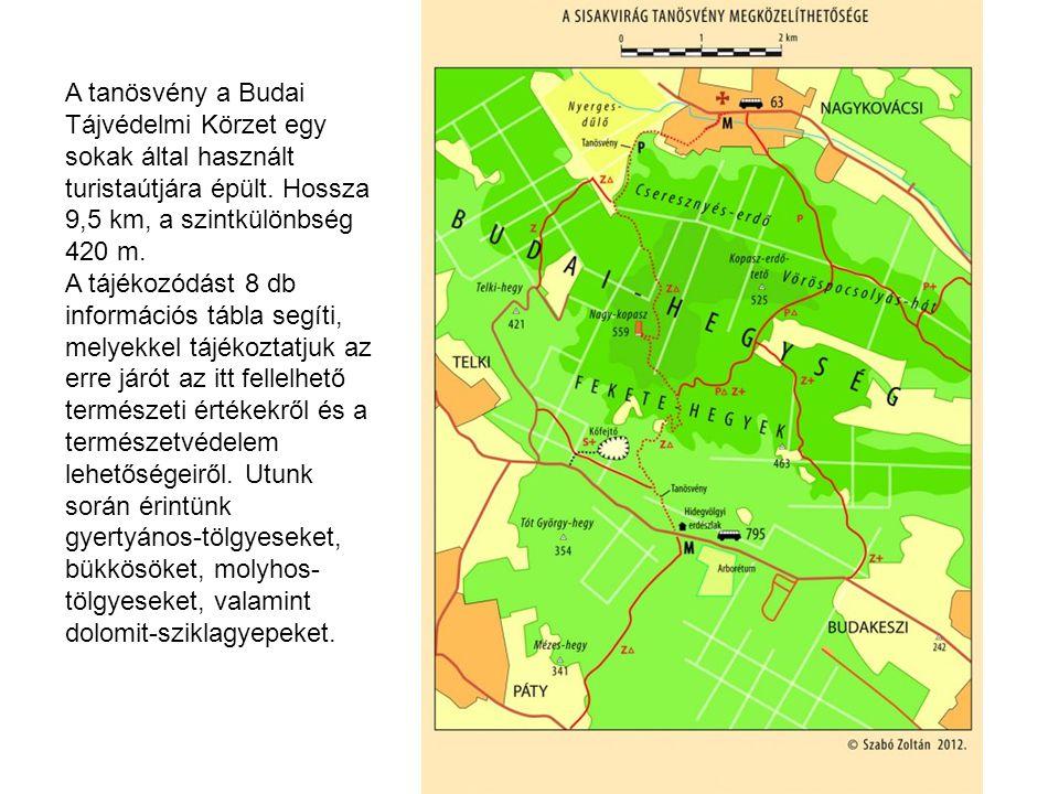 A tanösvény a Budai Tájvédelmi Körzet egy sokak által használt turistaútjára épült. Hossza 9,5 km, a szintkülönbség 420 m.