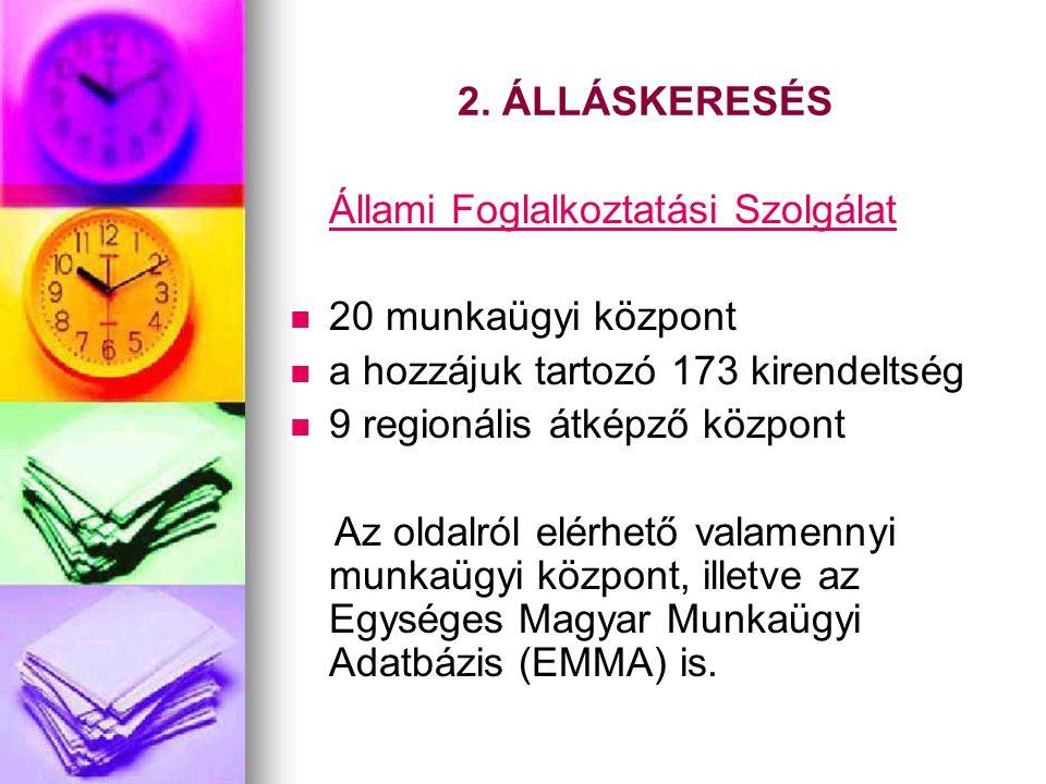 2. ÁLLÁSKERESÉS Állami Foglalkoztatási Szolgálat 20 munkaügyi központ