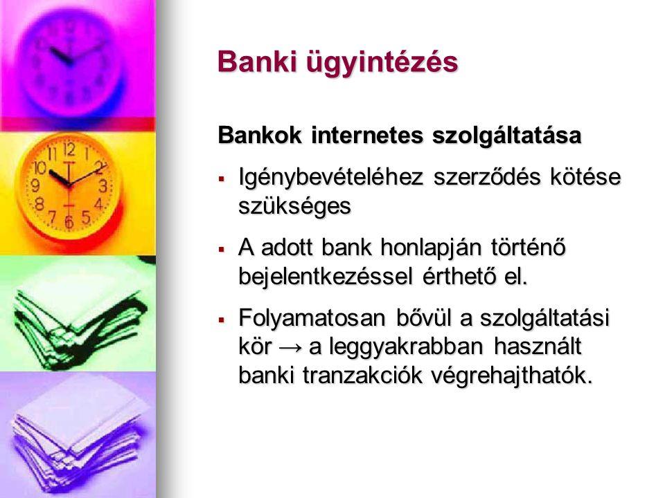 Banki ügyintézés Bankok internetes szolgáltatása