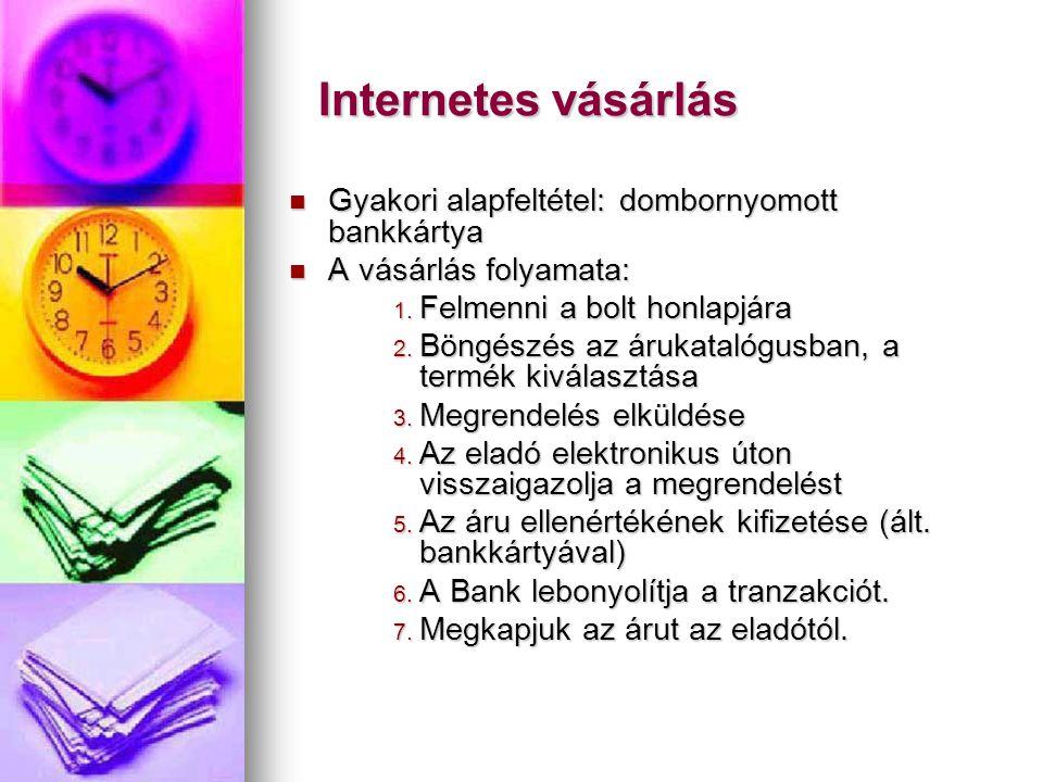 Internetes vásárlás Gyakori alapfeltétel: dombornyomott bankkártya