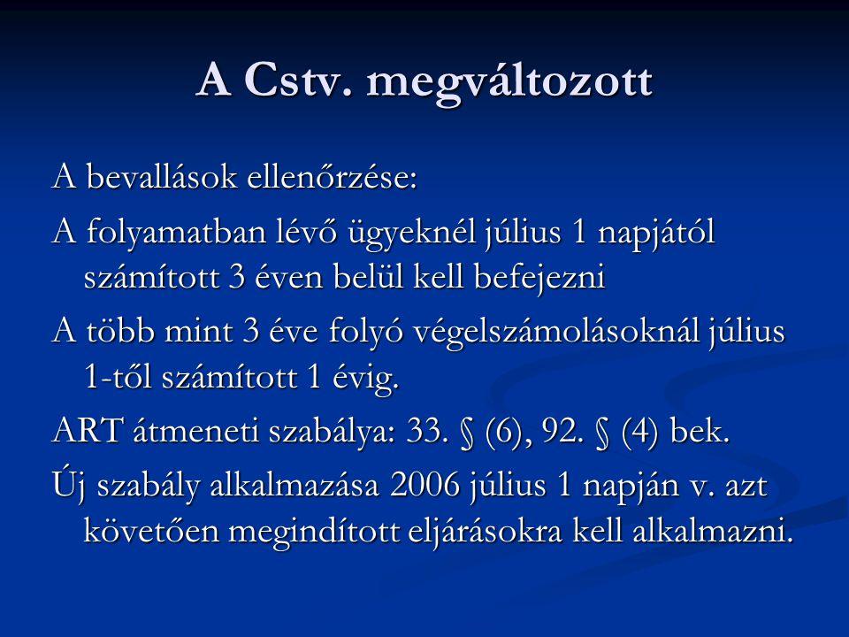 A Cstv. megváltozott A bevallások ellenőrzése: