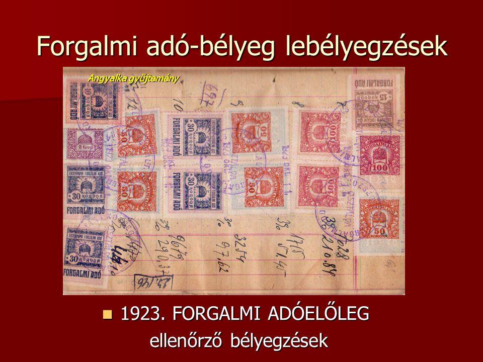 Forgalmi adó-bélyeg lebélyegzések