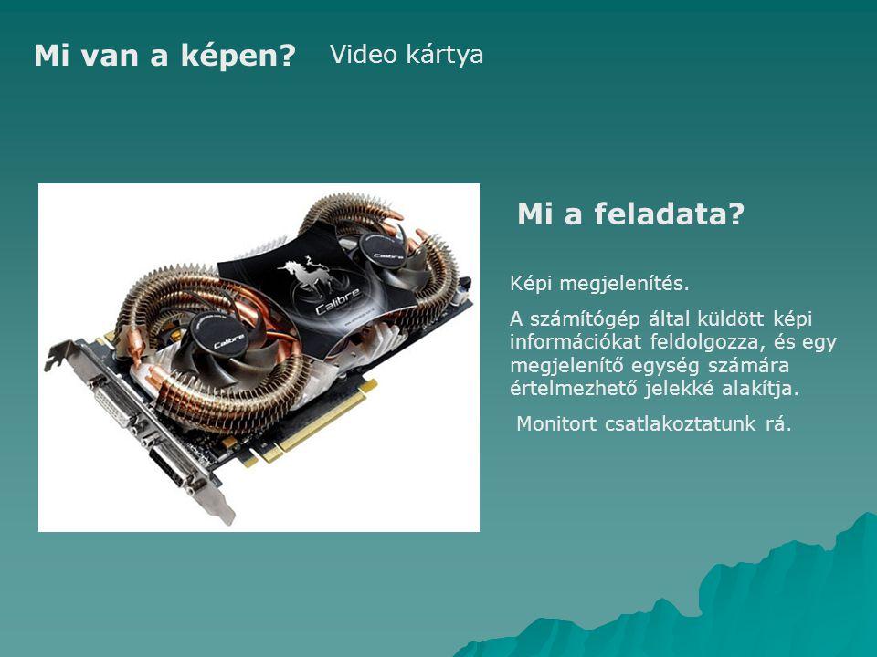 Mi van a képen Mi a feladata Video kártya Képi megjelenítés.