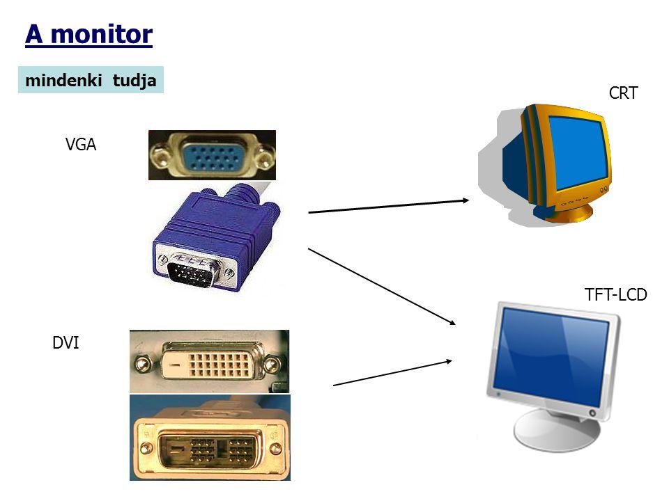 A monitor mindenki tudja CRT VGA TFT-LCD DVI