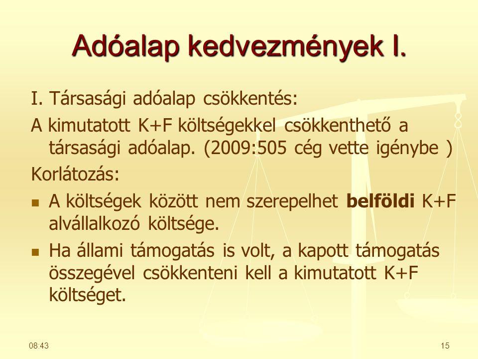 Adóalap kedvezmények I.