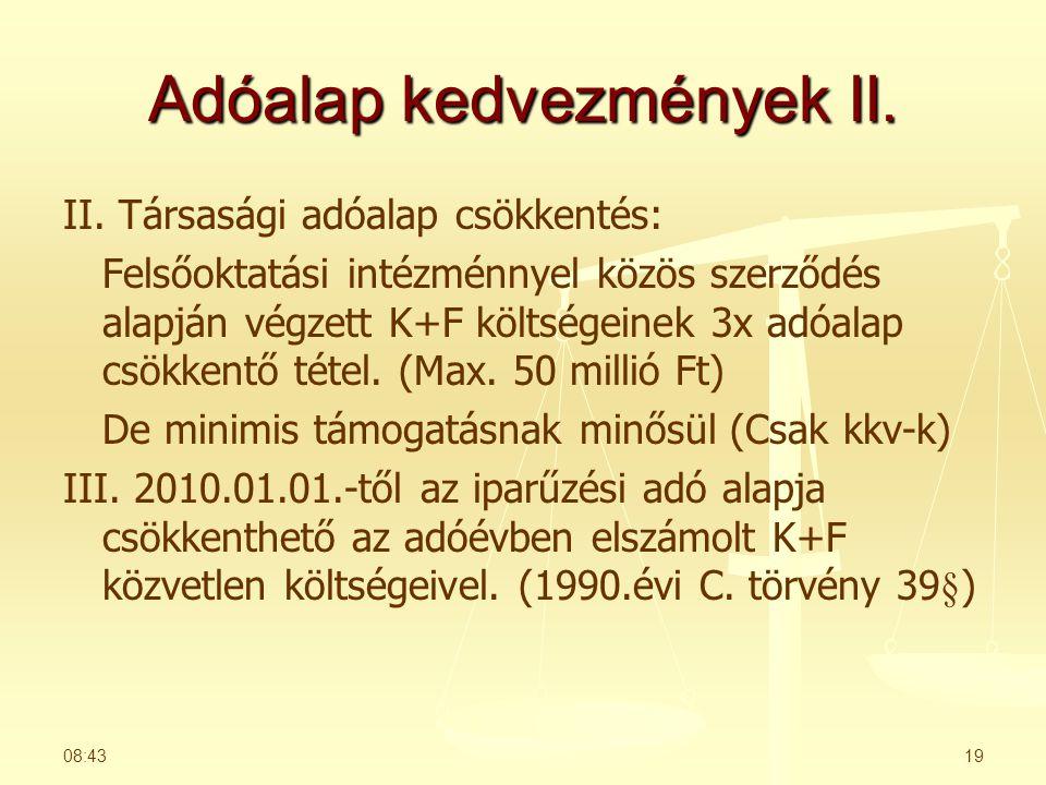Adóalap kedvezmények II.