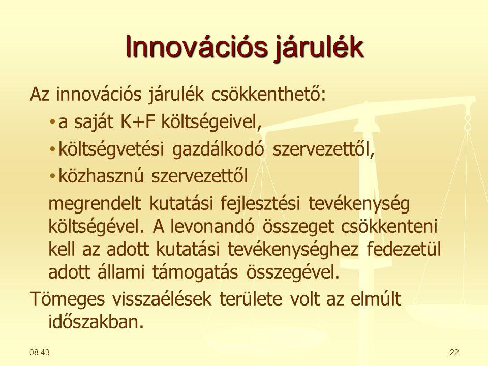 Innovációs járulék Az innovációs járulék csökkenthető: