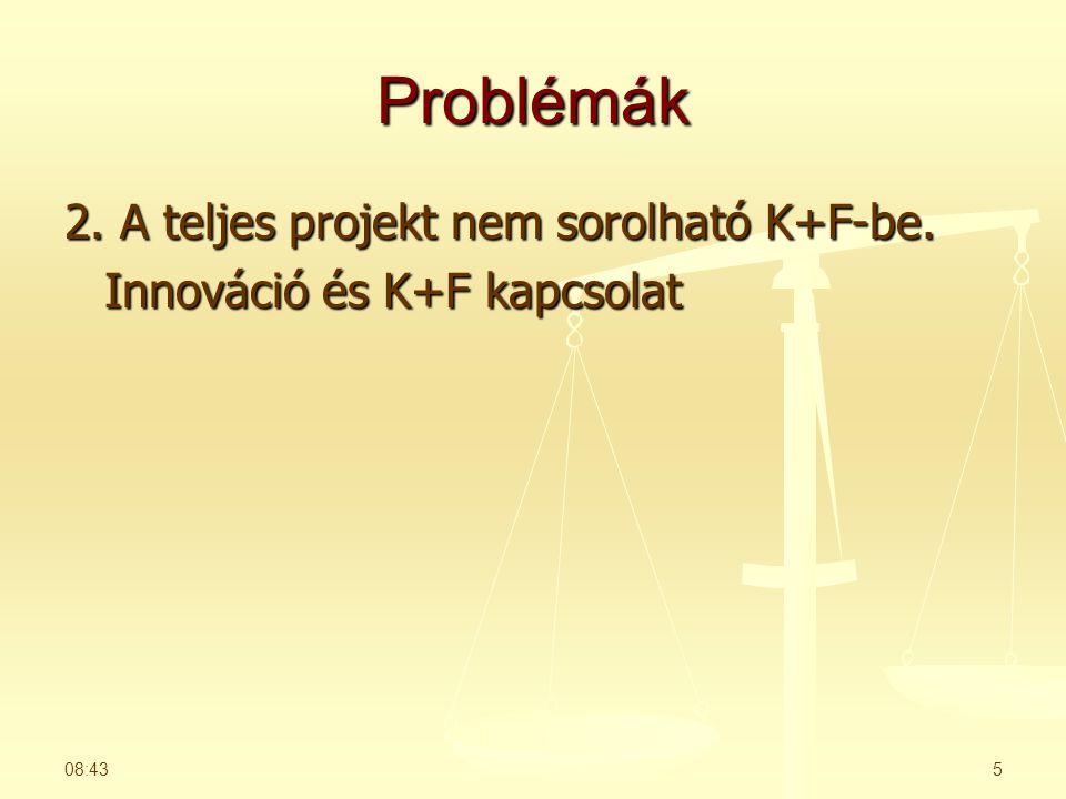 Problémák 2. A teljes projekt nem sorolható K+F-be. Innováció és K+F kapcsolat 06:26