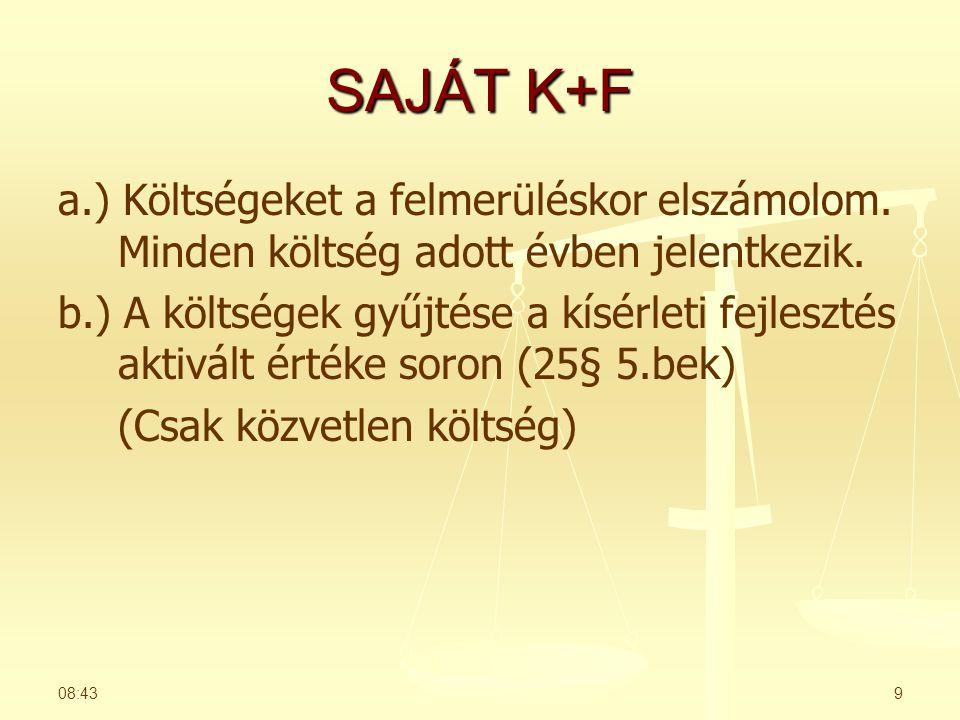 SAJÁT K+F a.) Költségeket a felmerüléskor elszámolom. Minden költség adott évben jelentkezik.