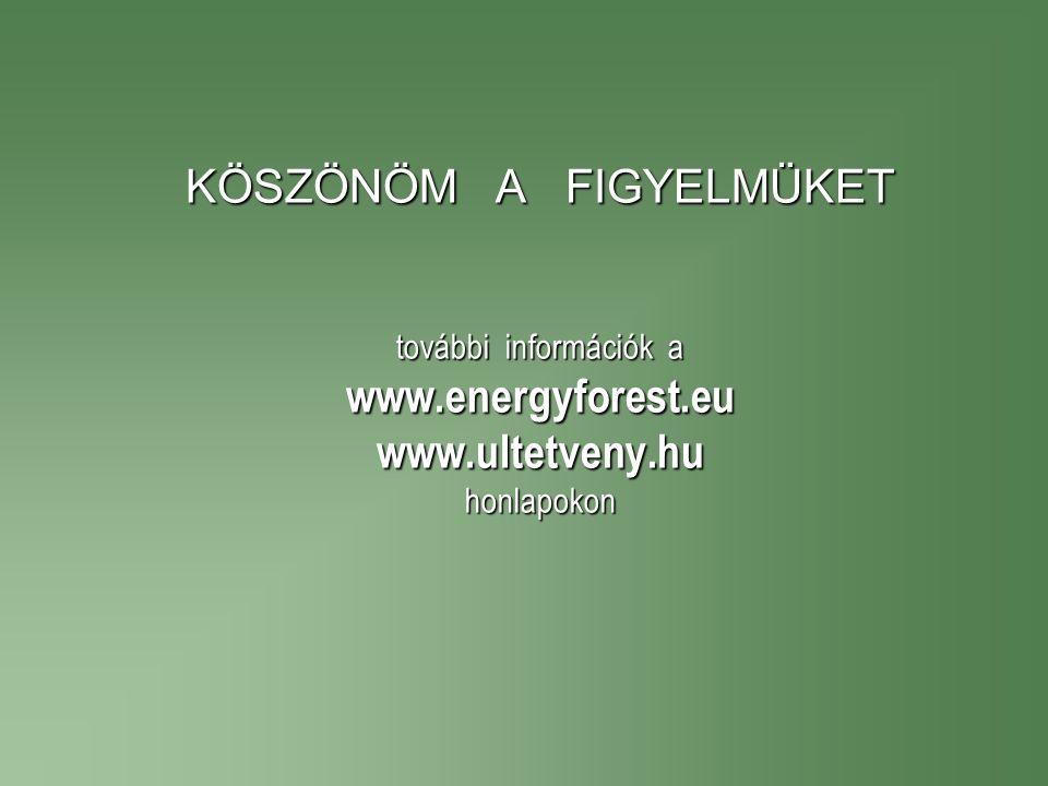KÖSZÖNÖM A FIGYELMÜKET további információk a www. energyforest. eu www