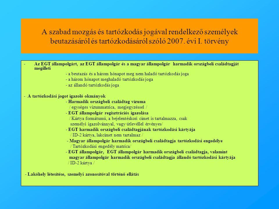 A szabad mozgás és tartózkodás jogával rendelkező személyek beutazásáról és tartózkodásáról szóló 2007. évi I. törvény