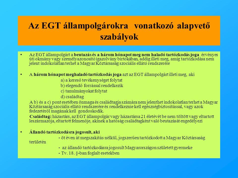 Az EGT állampolgárokra vonatkozó alapvető szabályok
