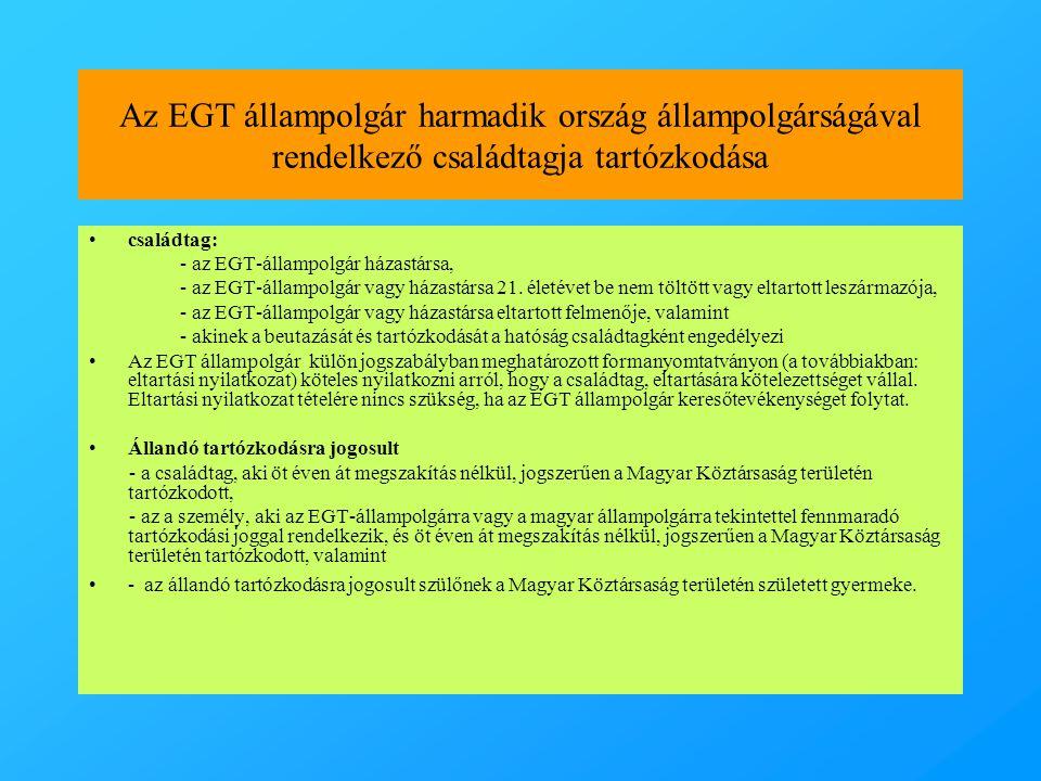 Az EGT állampolgár harmadik ország állampolgárságával rendelkező családtagja tartózkodása