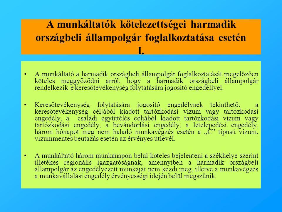 A munkáltatók kötelezettségei harmadik országbeli állampolgár foglalkoztatása esetén I.