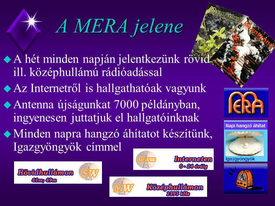 A MERA jelene A hét minden napján jelentkezünk rövid ill. középhullámú rádióadással. Az Internetről is hallgathatóak vagyunk.