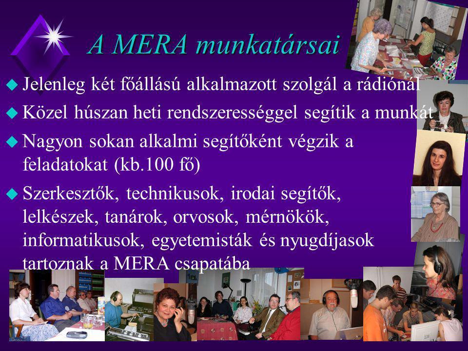 A MERA munkatársai Jelenleg két főállású alkalmazott szolgál a rádiónál. Közel húszan heti rendszerességgel segítik a munkát.