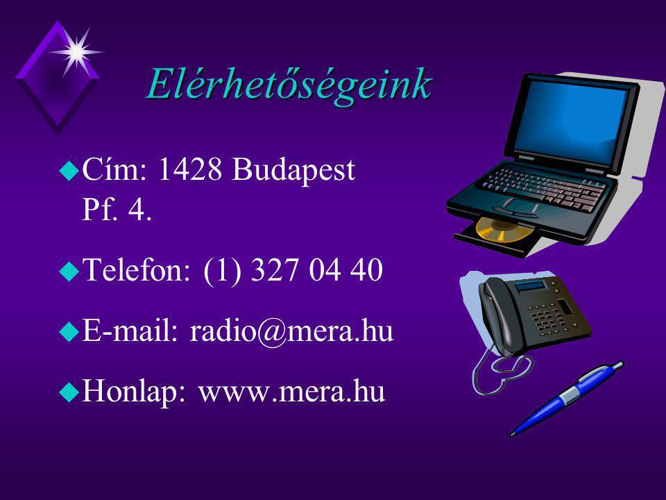Elérhetőségeink Cím: 1428 Budapest Pf. 4. Telefon: (1) 327 04 40