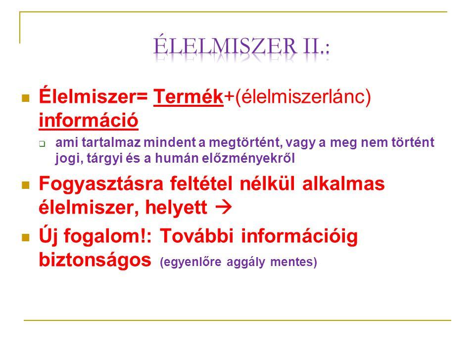 Élelmiszer II.: Élelmiszer= Termék+(élelmiszerlánc) információ