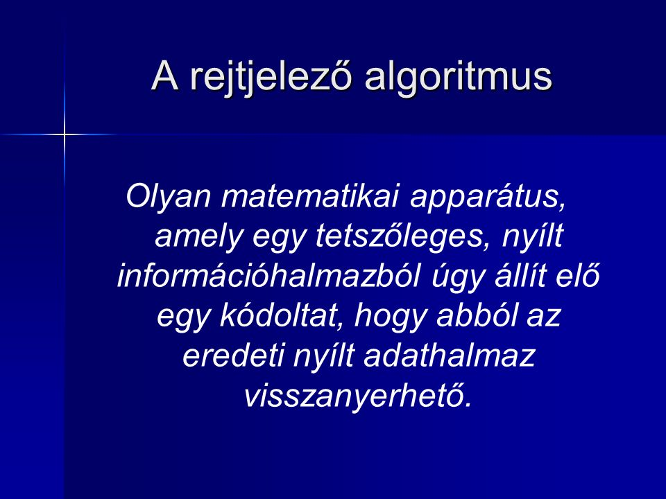 A rejtjelező algoritmus