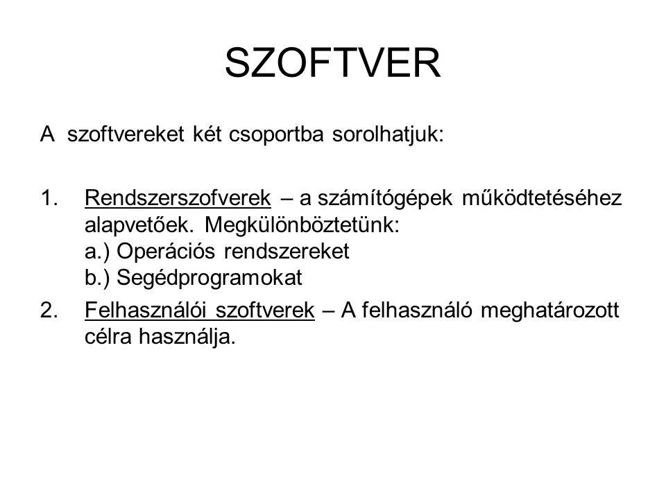 SZOFTVER A szoftvereket két csoportba sorolhatjuk:
