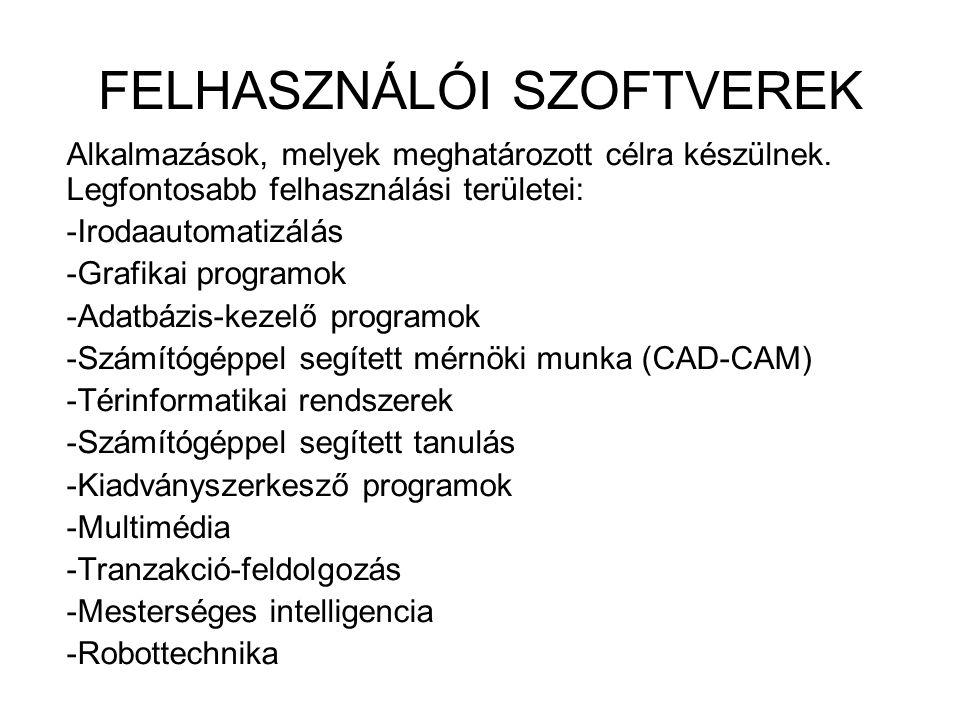 FELHASZNÁLÓI SZOFTVEREK