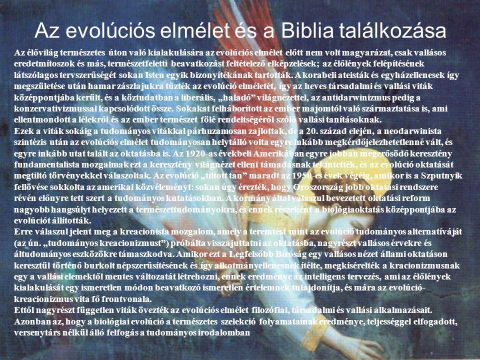 Az evolúciós elmélet és a Biblia találkozása