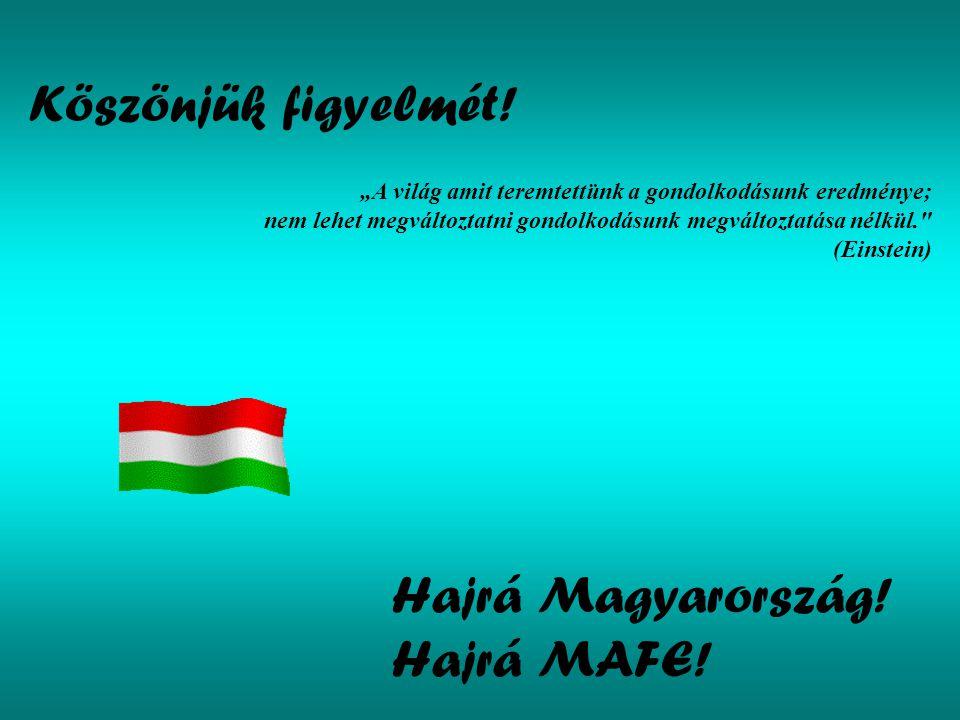Köszönjük figyelmét! Hajrá Magyarország! Hajrá MAFE!