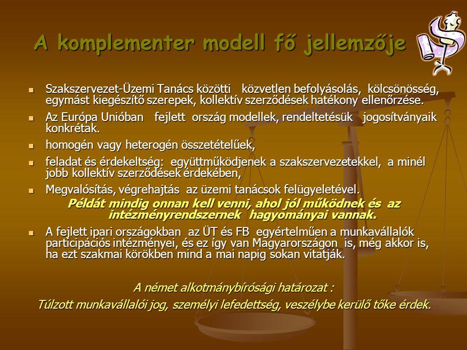 A komplementer modell fő jellemzője