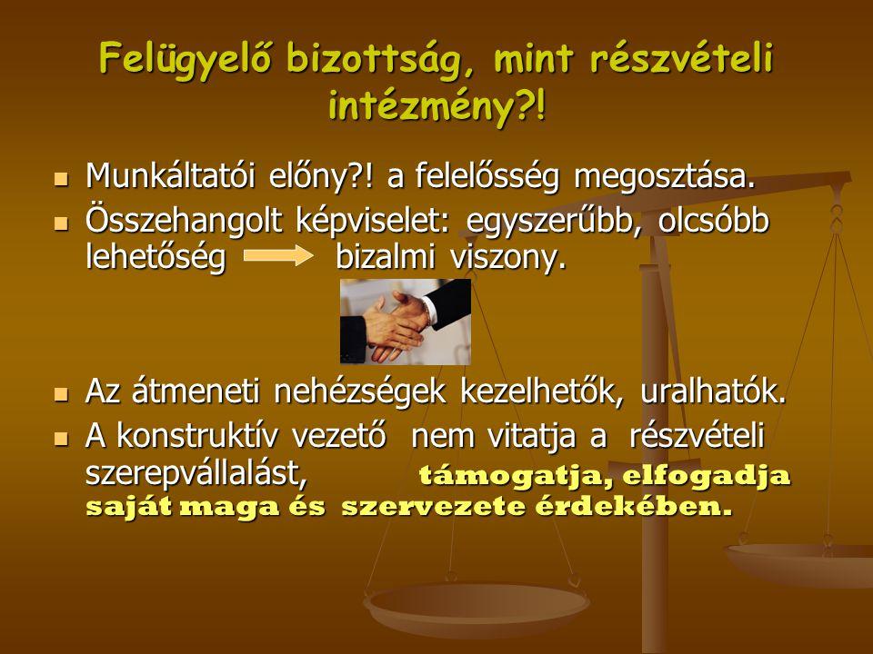 Felügyelő bizottság, mint részvételi intézmény !
