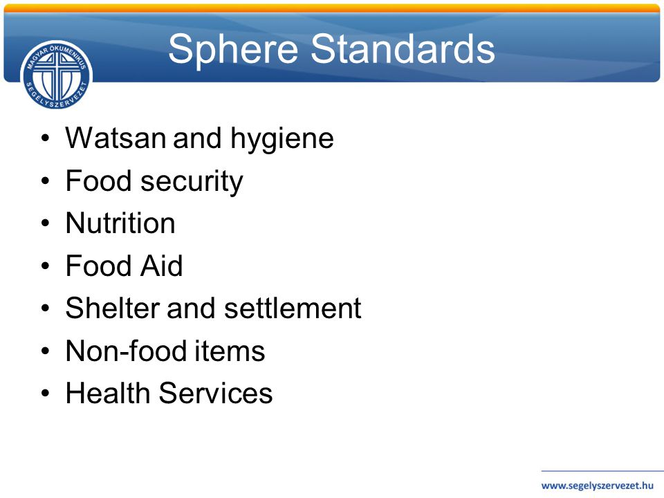Sphere Standards Watsan and hygiene Food security Nutrition Food Aid