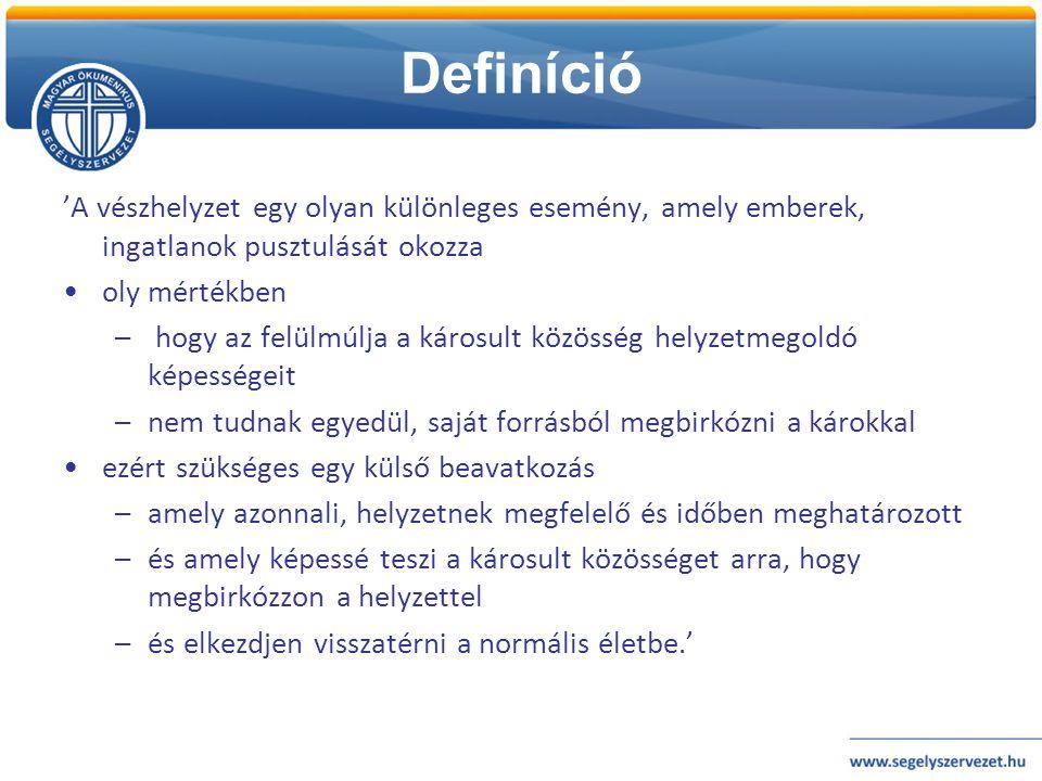 Definíció 'A vészhelyzet egy olyan különleges esemény, amely emberek, ingatlanok pusztulását okozza.