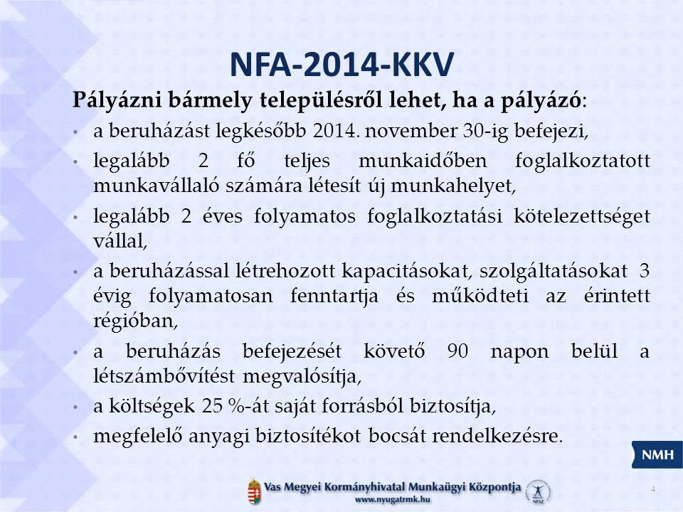 NFA-2014-KKV Pályázni bármely településről lehet, ha a pályázó:
