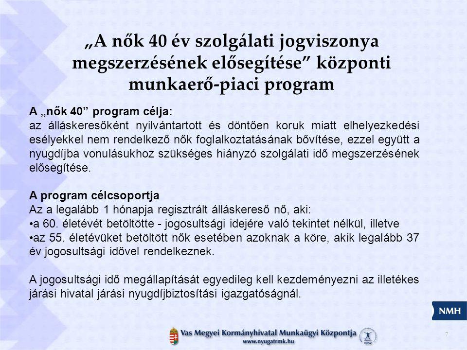 """""""A nők 40 év szolgálati jogviszonya megszerzésének elősegítése központi munkaerő-piaci program"""