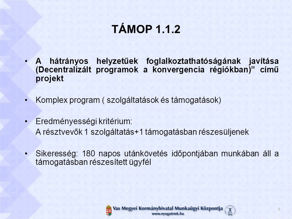 TÁMOP 1.1.2 A hátrányos helyzetűek foglalkoztathatóságának javítása (Decentralizált programok a konvergencia régiókban) című projekt.
