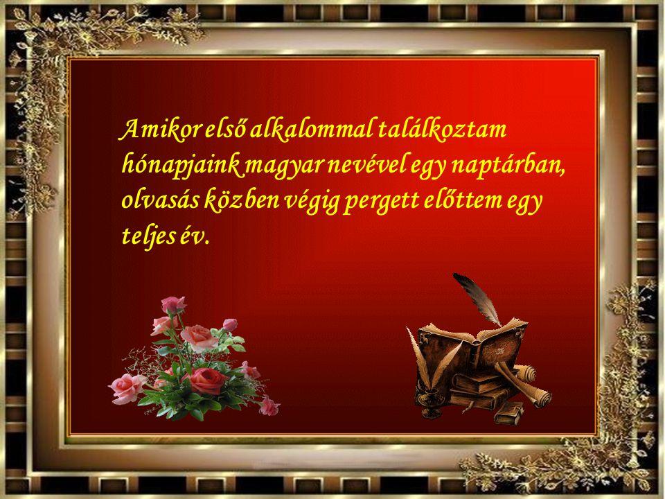 Amikor első alkalommal találkoztam hónapjaink magyar nevével egy naptárban, olvasás közben végig pergett előttem egy teljes év.