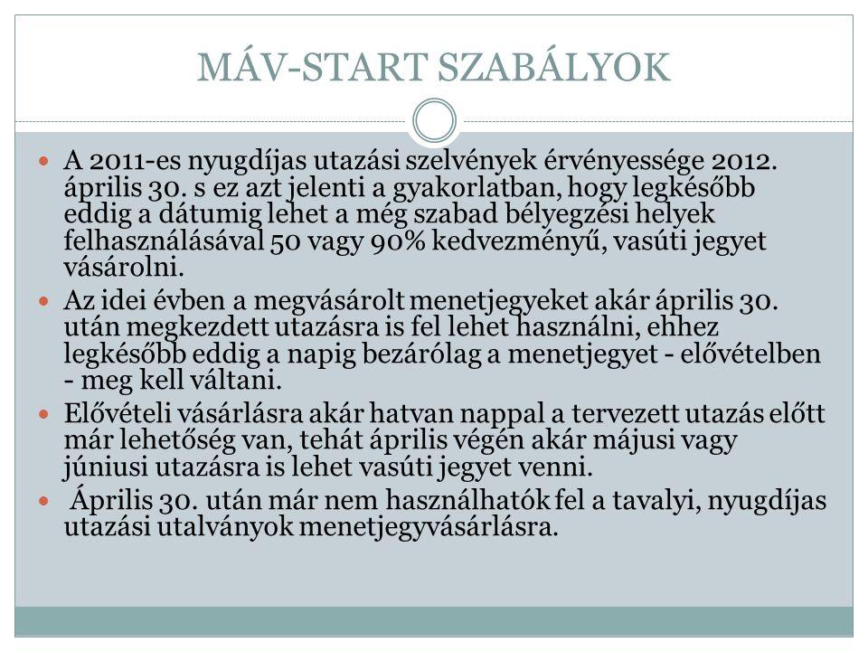 MÁV-START SZABÁLYOK