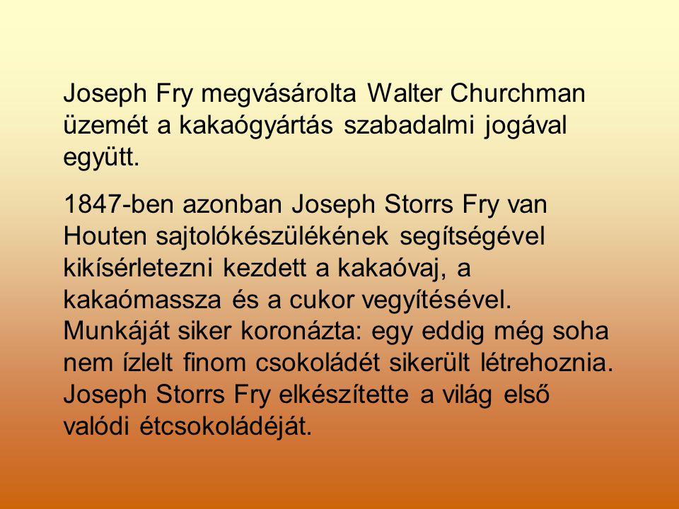 Joseph Fry megvásárolta Walter Churchman üzemét a kakaógyártás szabadalmi jogával együtt.