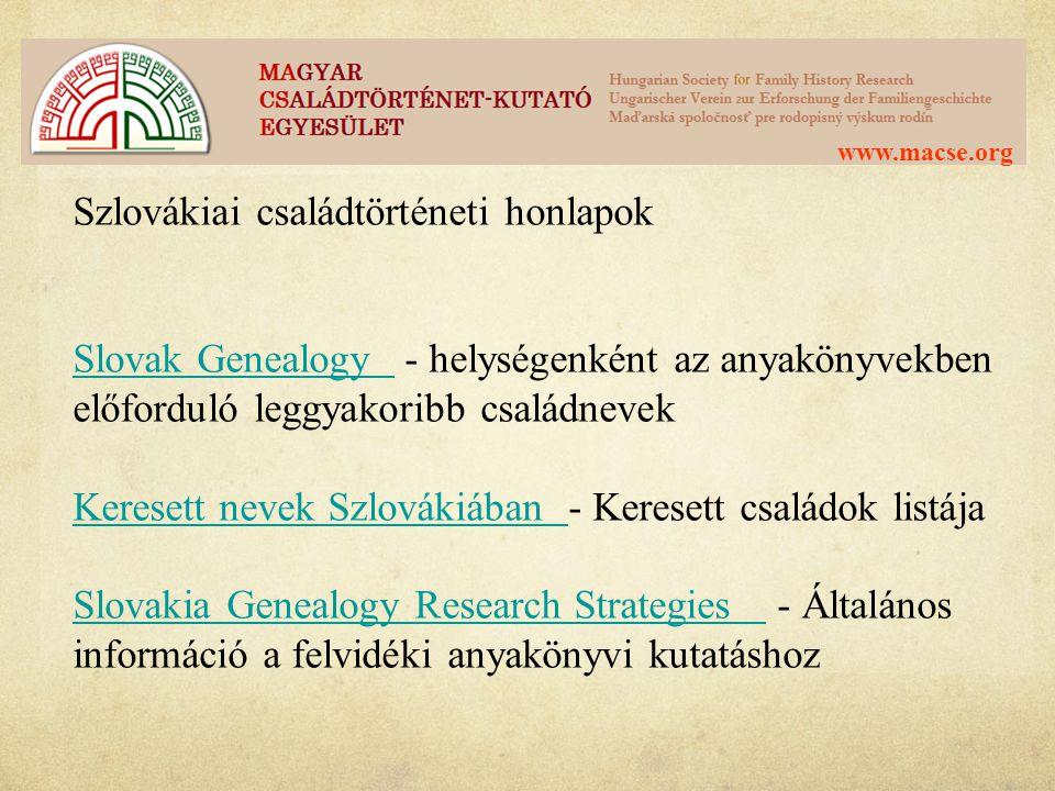 Szlovákiai családtörténeti honlapok