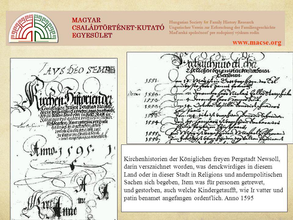 www.macse.org Kirchenhistorien der Königlichen freyen Pergstadt Newsoll, darin verszaichnet worden, was denckwirdiges in diesem.