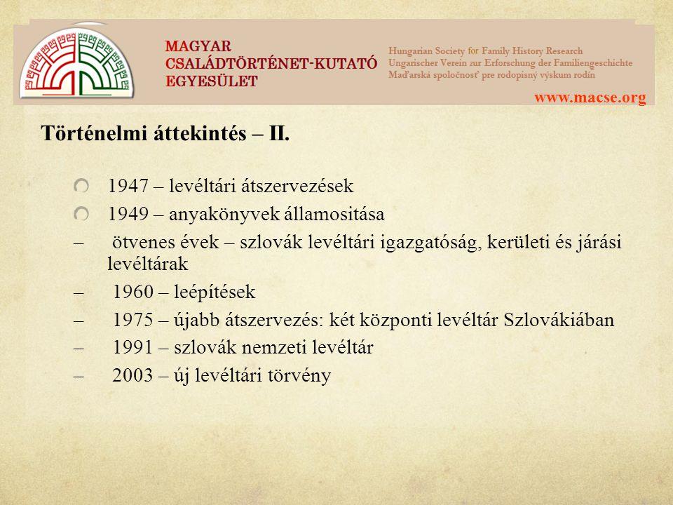 Történelmi áttekintés – II.
