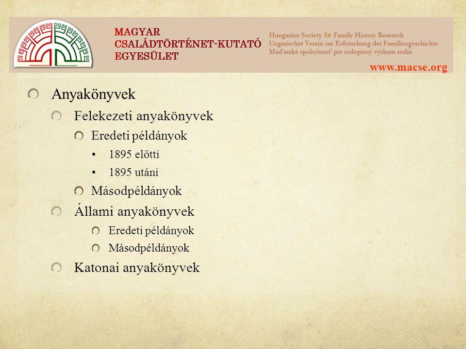 Anyakönyvek Felekezeti anyakönyvek Állami anyakönyvek