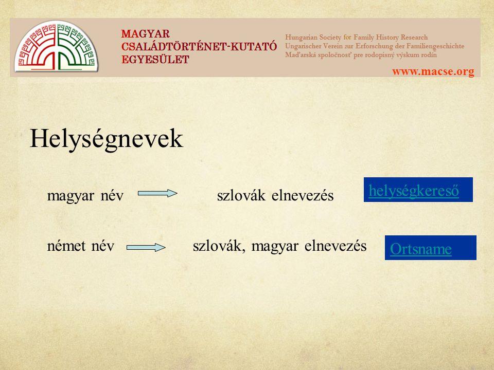 Helységnevek magyar név szlovák elnevezés