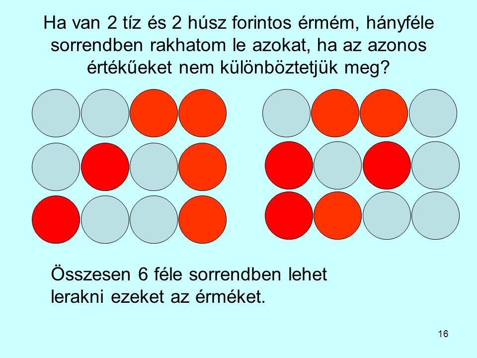Ha van 2 tíz és 2 húsz forintos érmém, hányféle sorrendben rakhatom le azokat, ha az azonos értékűeket nem különböztetjük meg
