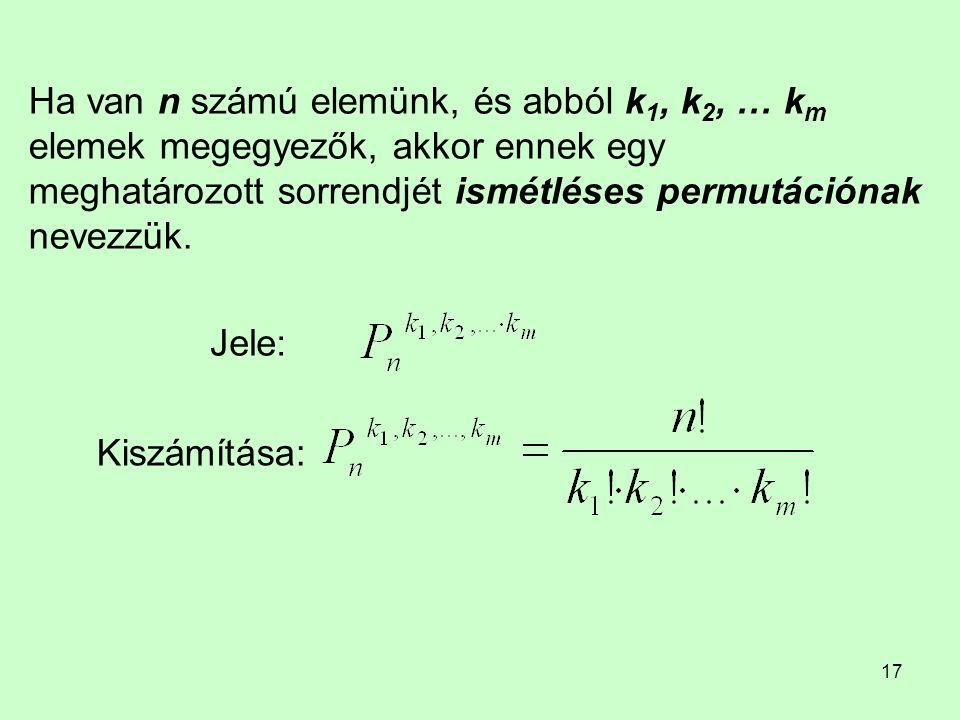 Ha van n számú elemünk, és abból k1, k2, … km elemek megegyezők, akkor ennek egy meghatározott sorrendjét ismétléses permutációnak nevezzük.