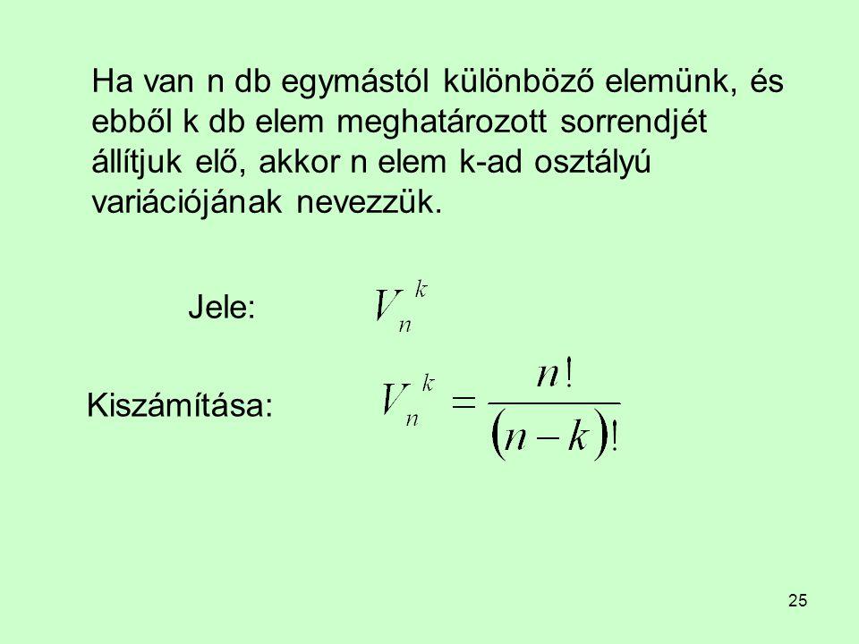 Ha van n db egymástól különböző elemünk, és ebből k db elem meghatározott sorrendjét állítjuk elő, akkor n elem k-ad osztályú variációjának nevezzük.