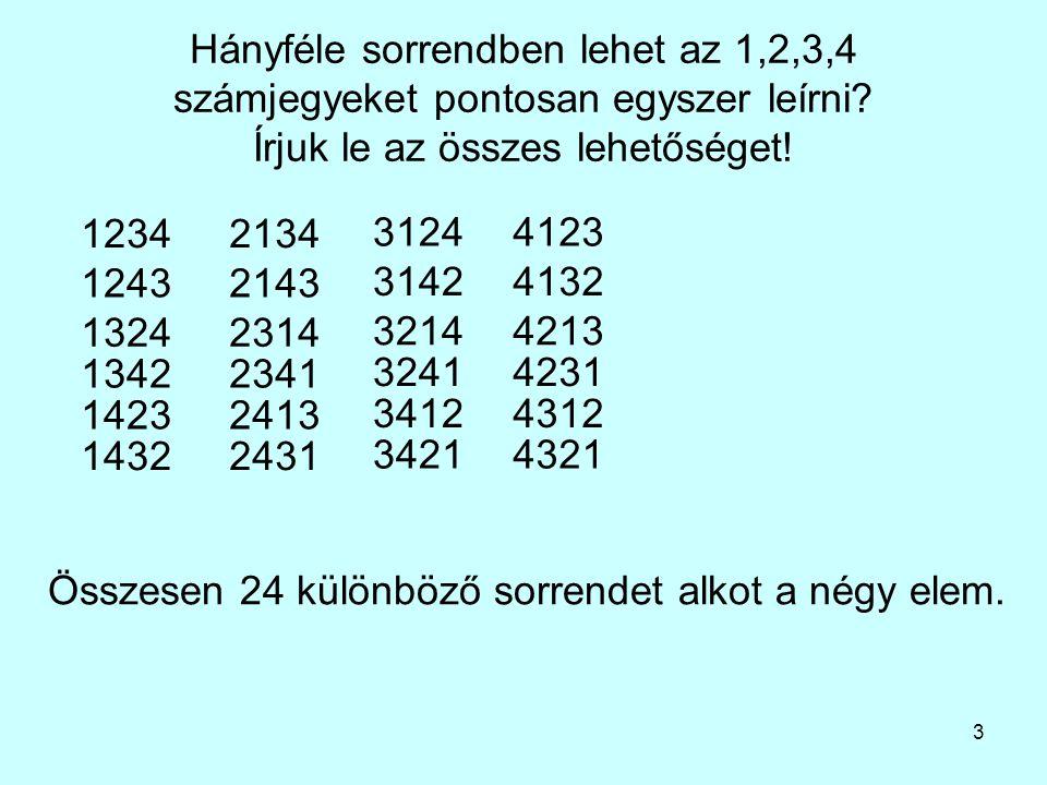 Hányféle sorrendben lehet az 1,2,3,4 számjegyeket pontosan egyszer leírni Írjuk le az összes lehetőséget!
