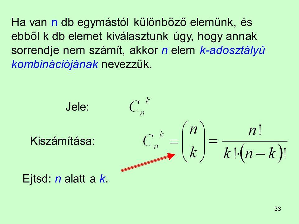 Ha van n db egymástól különböző elemünk, és ebből k db elemet kiválasztunk úgy, hogy annak sorrendje nem számít, akkor n elem k-adosztályú kombinációjának nevezzük.